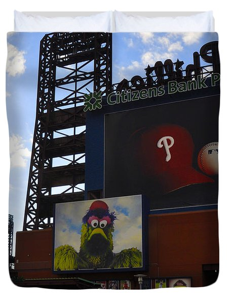 Go Phillies - Citizens Bank Park - Left Field Gate Duvet Cover by Bill Cannon