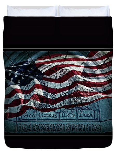 God Country Notre Dame American Flag Duvet Cover by John Stephens