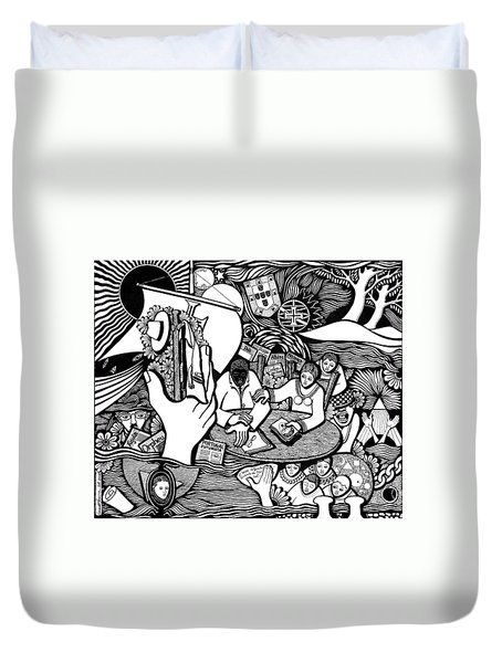 God Wills Man Dreams The Work Is Born Duvet Cover by Jose Alberto Gomes Pereira