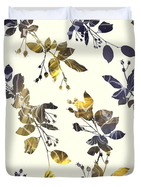 Golden Branches Duvet Cover by Varpu Kronholm