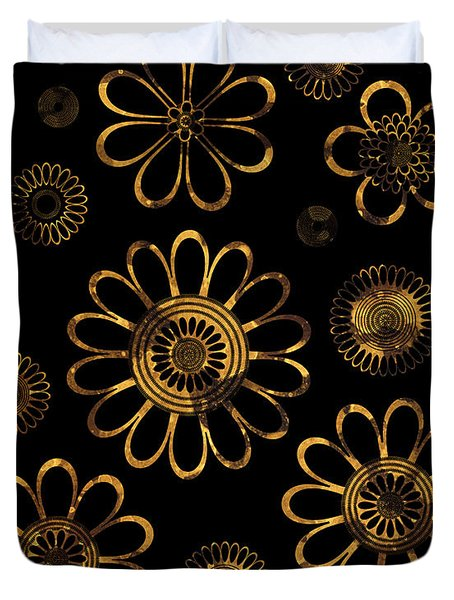Golden Flowers Duvet Cover by Frank Tschakert