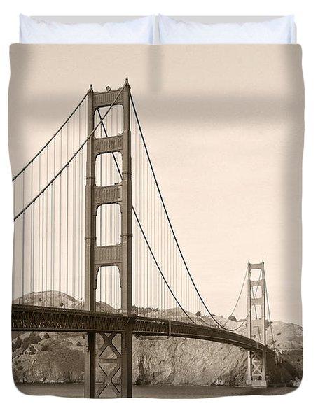 Golden Gate Bridge San Francisco - A thirty-five million dollar steel harp Duvet Cover by Christine Till