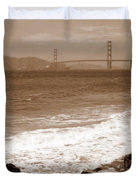 Golden Gate Bridge with Shore - Sepia Duvet Cover by Carol Groenen