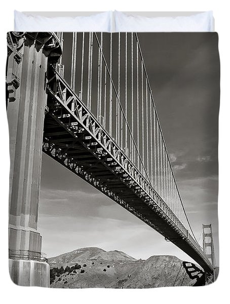Golden Gate From The Water - Bw Duvet Cover by Darcy Michaelchuk