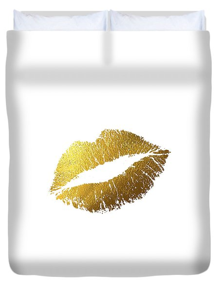 Gold Lips Duvet Cover by Bekare Creative
