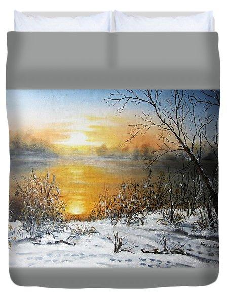 Golden Lake Sunrise  Duvet Cover by Vesna Martinjak