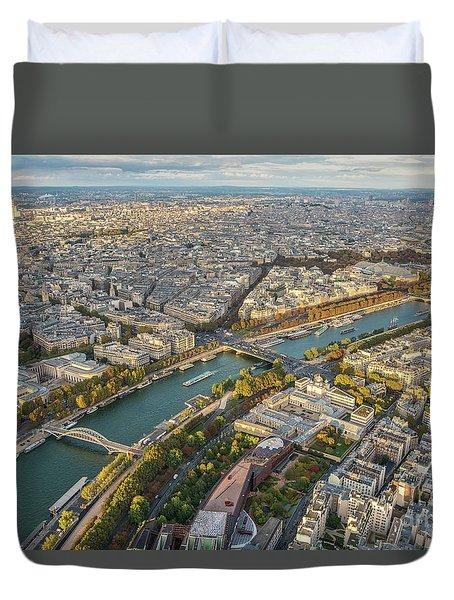 Golden Light Along The Seine Duvet Cover by Mike Reid