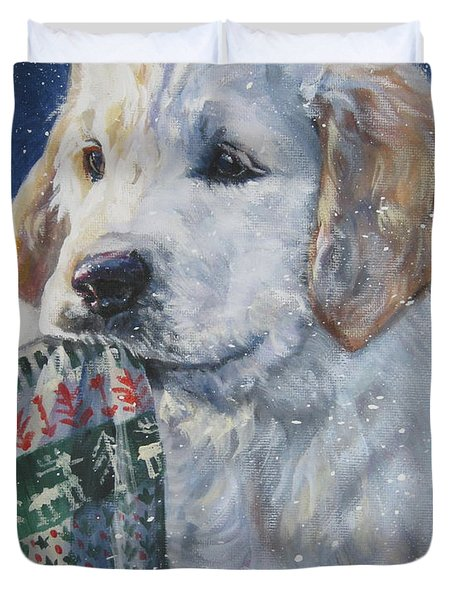 Golden Retriever With Xmas Stocking Duvet Cover by Lee Ann Shepard