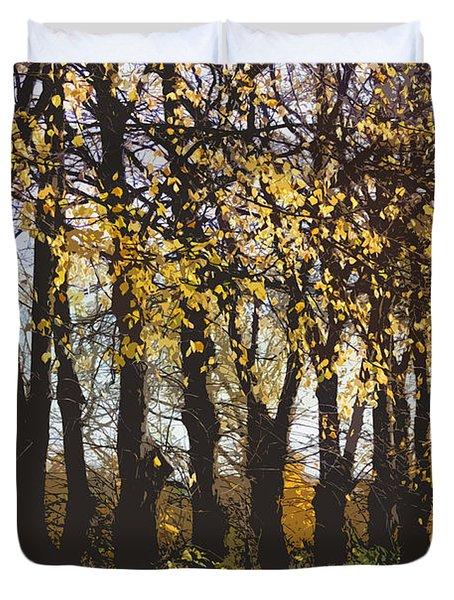 Golden Trees 1 Duvet Cover by Carol Lynch