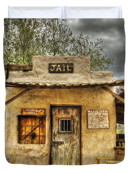 Goldfield Ghost Town - Jail  Duvet Cover by Saija  Lehtonen