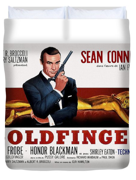 Goldfinger James Bond French Lobby Poster Painterly Duvet Cover by Daniel Hagerman