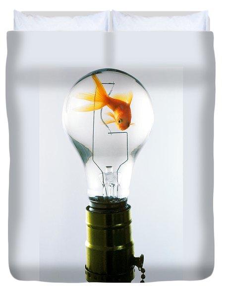 Goldfish In Light Bulb  Duvet Cover by Garry Gay