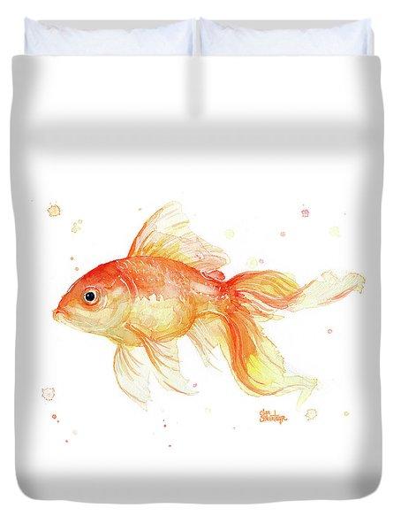 Goldfish Painting Watercolor Duvet Cover by Olga Shvartsur