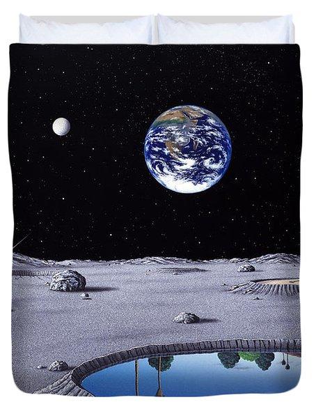 Golfing On The Moon Duvet Cover by Snake Jagger