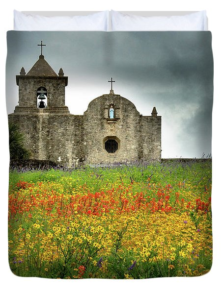 Goliad in Spring Duvet Cover by Jon Holiday