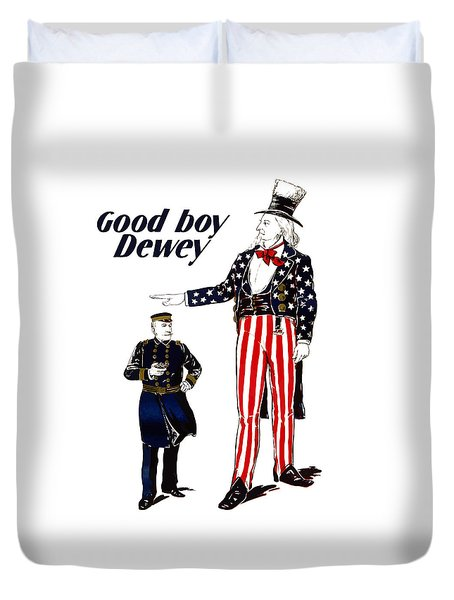 Good Boy Dewey Duvet Cover by War Is Hell Store