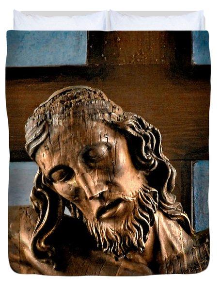 Good Friday Jesus On The Cross Duvet Cover by Christine Till