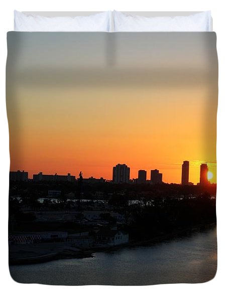 Good Morning Miami Duvet Cover by Shelley Neff