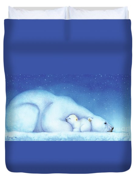 Arctic Bears, Goodnight Nanook Duvet Cover by Tracy Herrmann