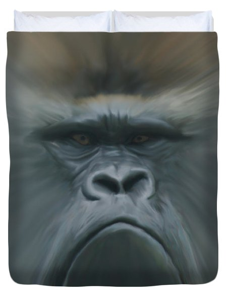 Gorilla Freehand Abstract Duvet Cover by Ernie Echols