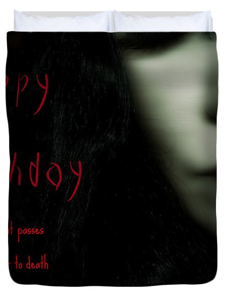 Goth Birthday Card Duvet Cover by Lisa Knechtel