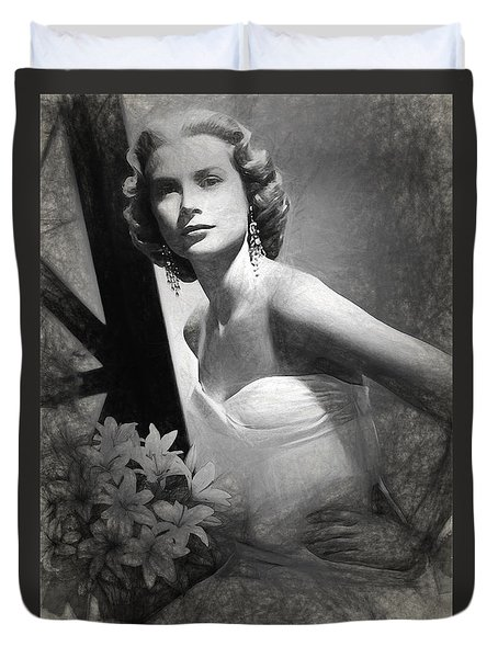 Grace Kelly Drawing Duvet Cover by Quim Abella