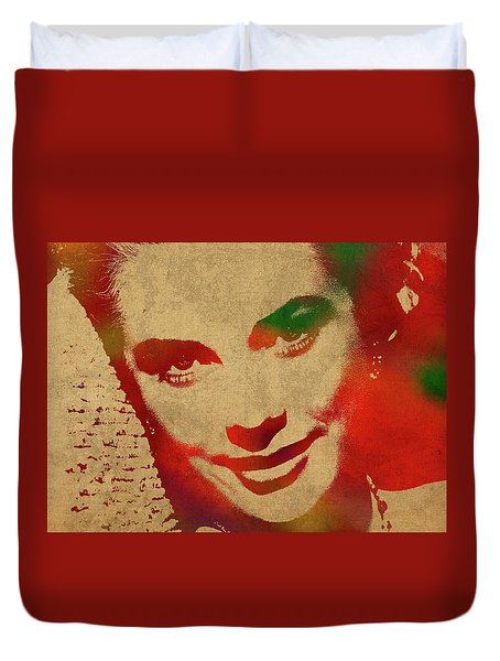 Grace Kelly Watercolor Portrait Duvet Cover by Design Turnpike