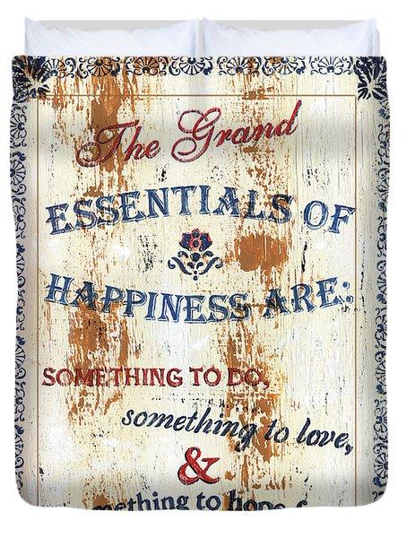 Grand Essentials of Happiness Duvet Cover by Debbie DeWitt