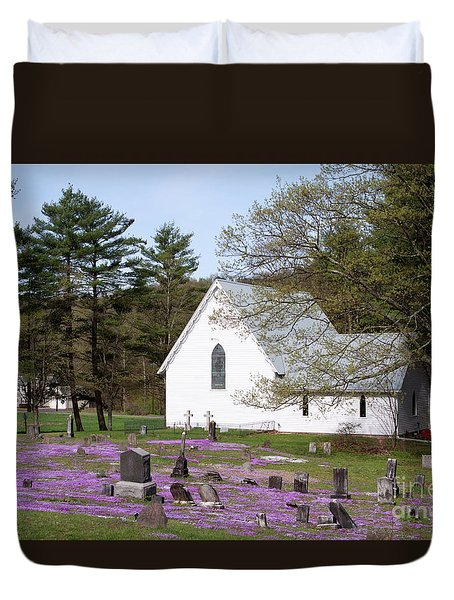 Graveyard Phlox Country Church Duvet Cover by John Stephens