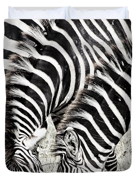 Grazing Zebras Close Up Duvet Cover by Darcy Michaelchuk
