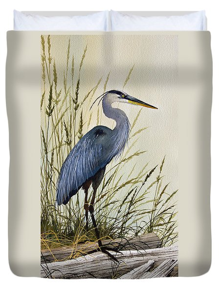 Great Blue Heron Splendor Duvet Cover by James Williamson
