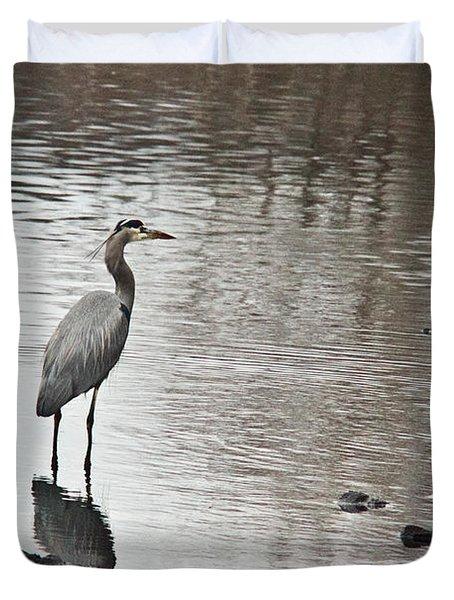 Great Blue Heron Wading 2 Duvet Cover by Douglas Barnett