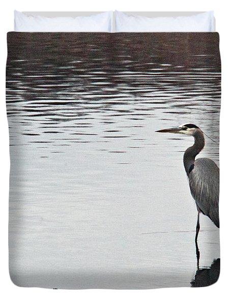Great Blue Heron Wading 3 Duvet Cover by Douglas Barnett