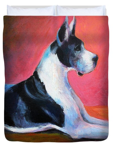 Great Dane Painting Svetlana Novikova Duvet Cover by Svetlana Novikova