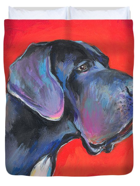 Great dane painting Duvet Cover by Svetlana Novikova