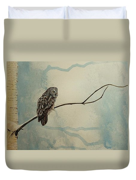 Great Gray Owl Duvet Cover by Lucy Deane