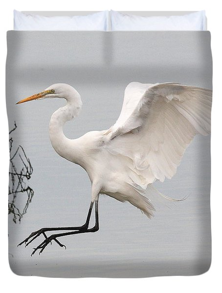 Great White Egret Landing On Water Duvet Cover by Wingsdomain Art and Photography
