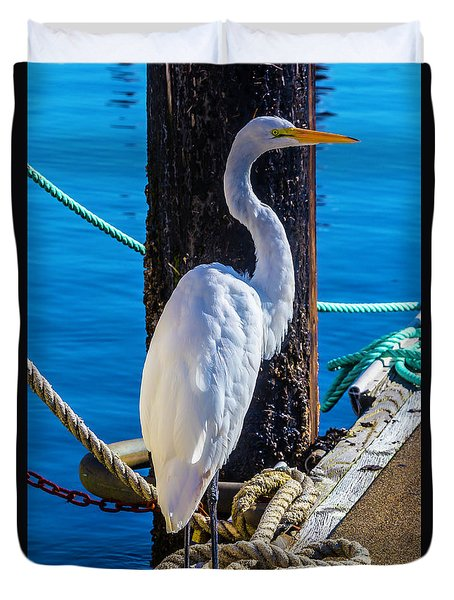 Great White Heron Duvet Cover by Garry Gay