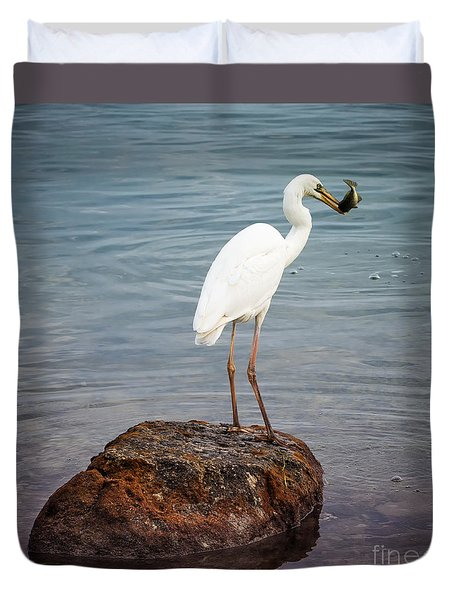 Great White Heron With Fish Duvet Cover by Elena Elisseeva