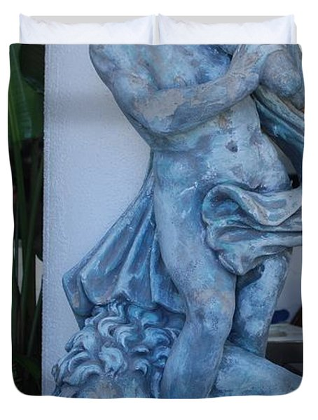 Greek Dude And Lion In Blue Duvet Cover by Rob Hans