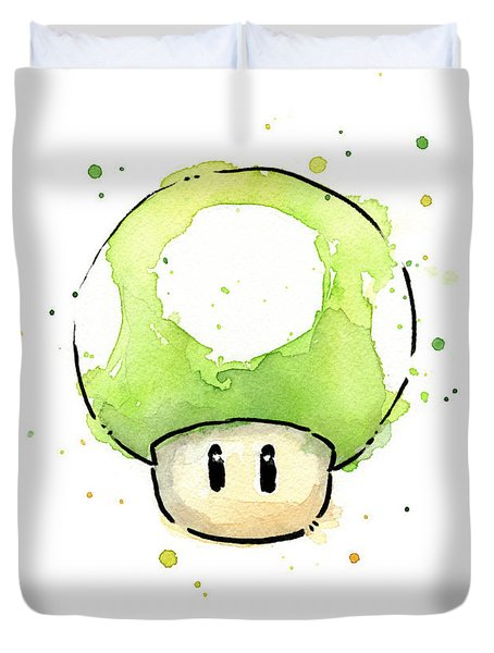 Green 1up Mushroom Duvet Cover by Olga Shvartsur