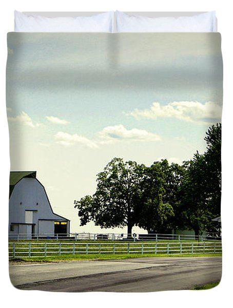 Green And White Farm Duvet Cover by Cricket Hackmann