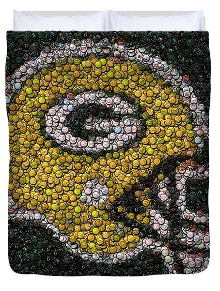 Green Bay Packers Bottle Cap Mosaic Duvet Cover by Paul Van Scott