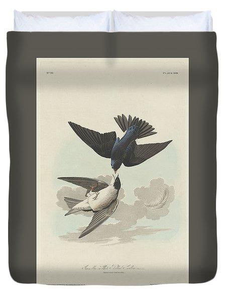 Green-blue Or White-bellied Swallow Duvet Cover by John James Audubon