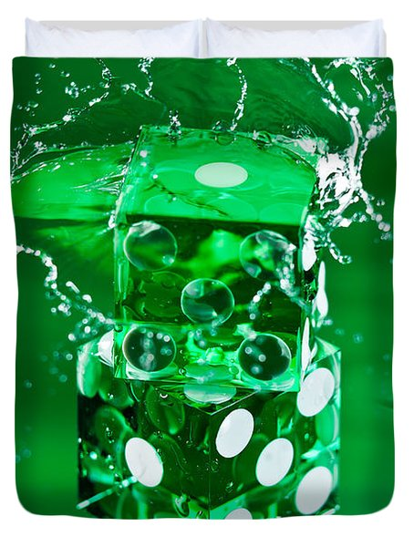 Green Dice Splash Duvet Cover by Steve Gadomski