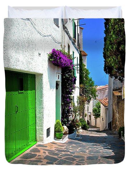 Green Door Passage  Duvet Cover by Harry Spitz