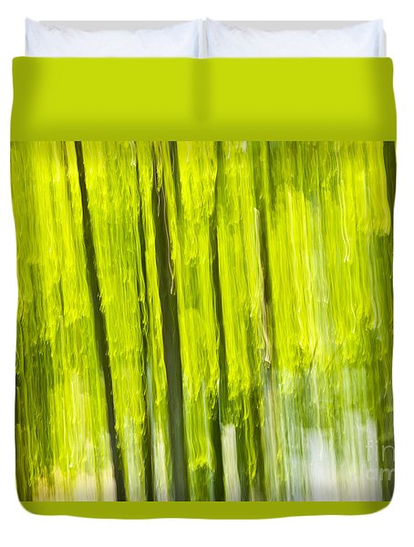 Green forest abstract Duvet Cover by Elena Elisseeva