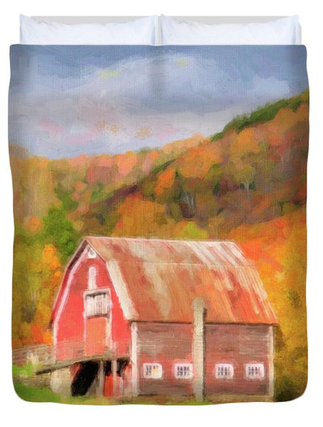 Green Mountains Barn Duvet Cover by Betty LaRue