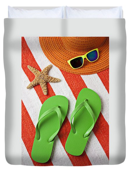 Green Sandals On Beach Towel Duvet Cover by Garry Gay