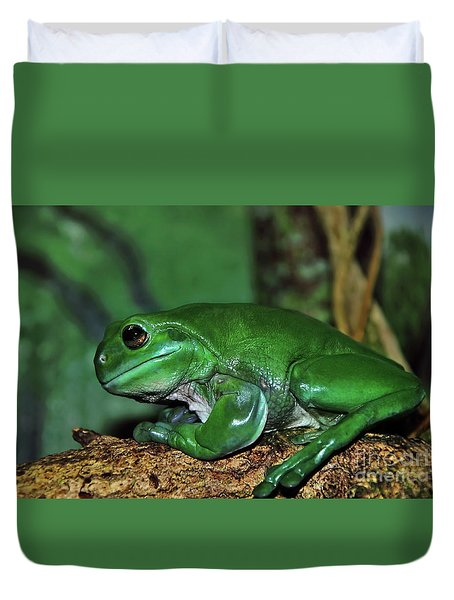 Green Tree Frog With A Smile Duvet Cover by Kaye Menner